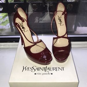 Cranberry Red YSL Strappy Tribute Heels